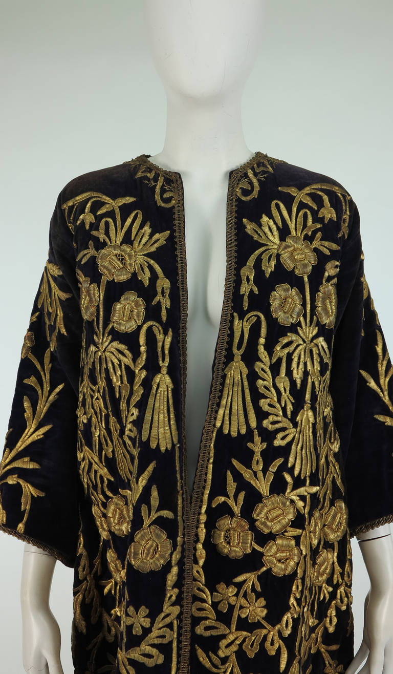 19th Century Ottoman Empire gold metallic embroidered velvet coat 10