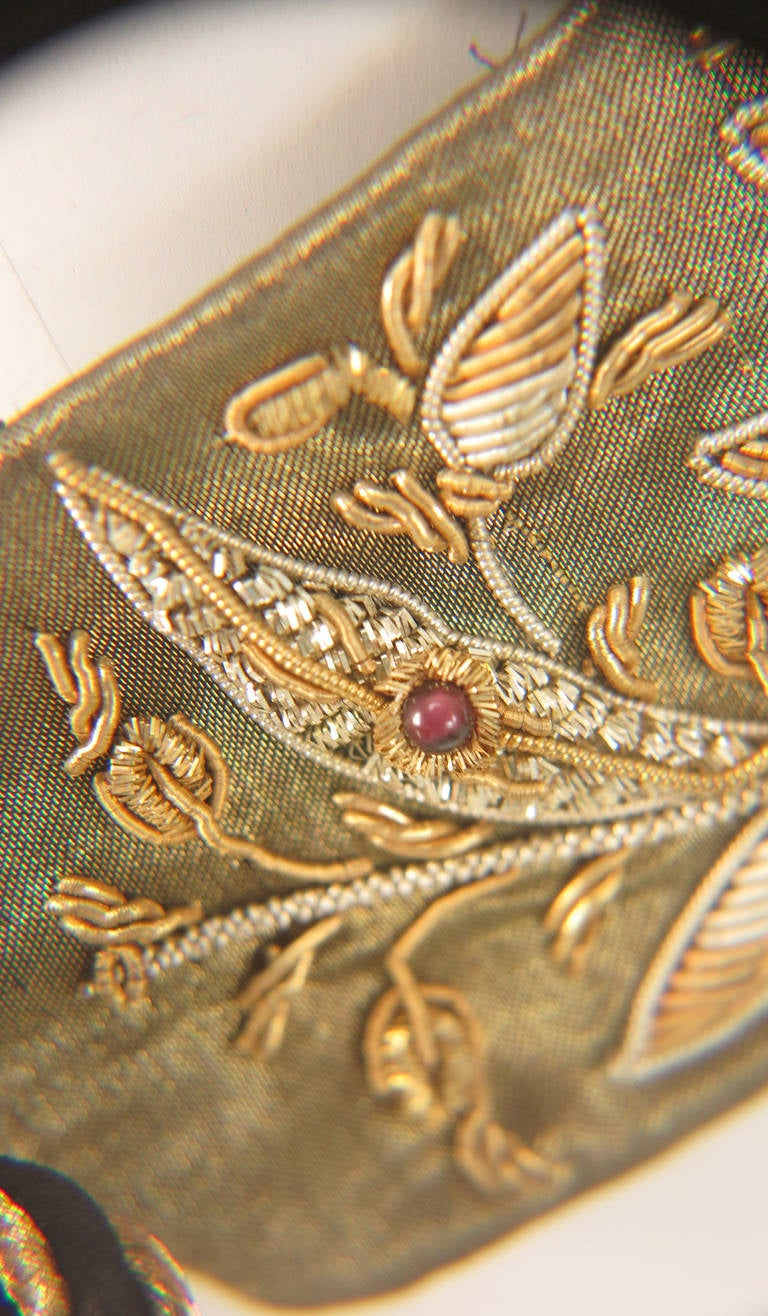 1960s India gold metallic embroidered belt with semi precious stones 6