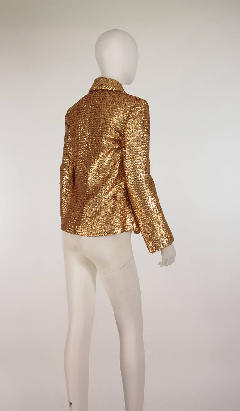 1970s French Gold Sequin Jacket At 1stdibs