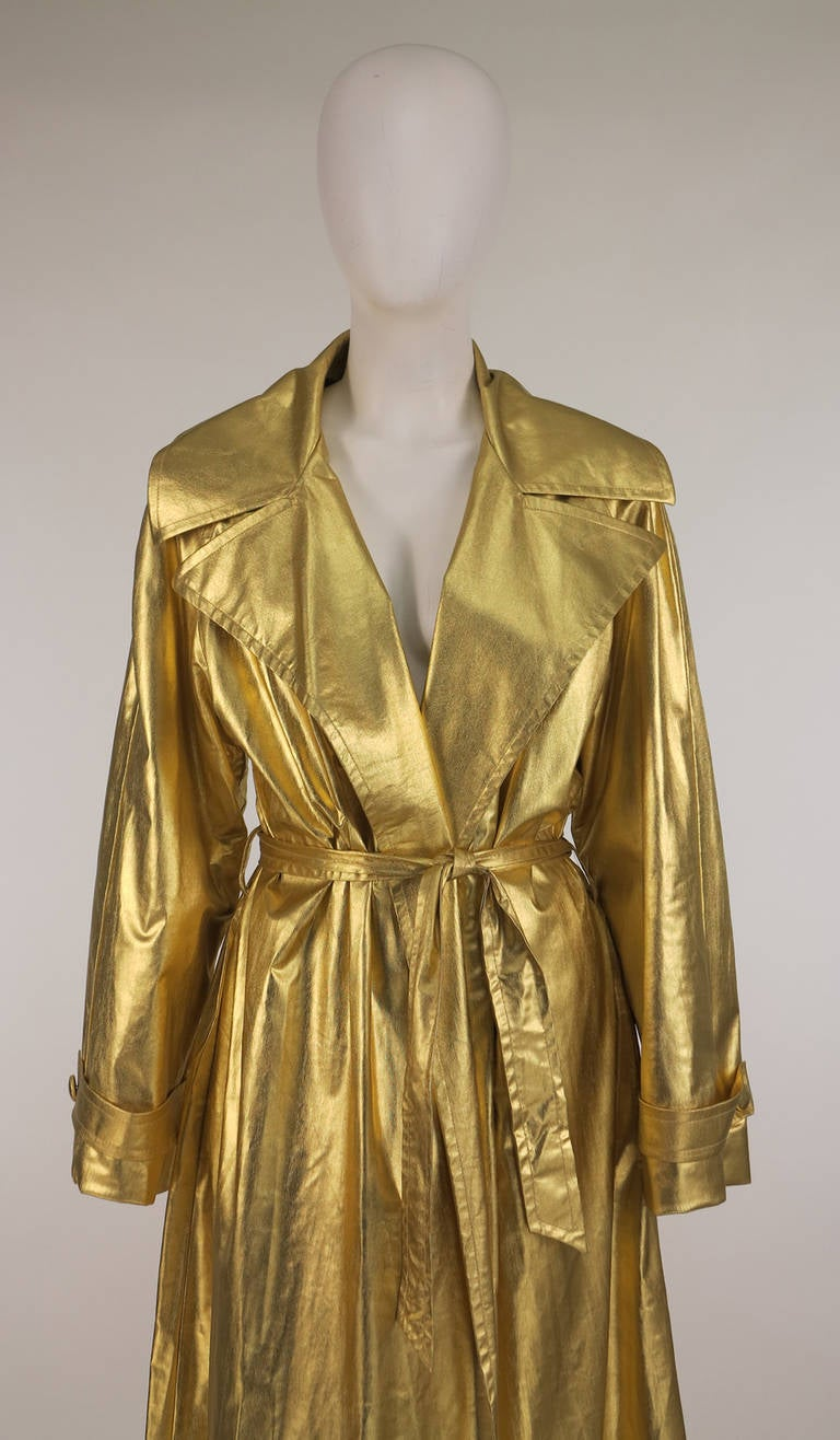1980s Raincheetahs Liquid Gold Trench Coat At 1stdibs