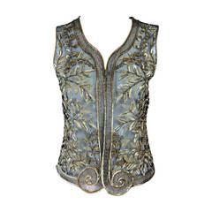 Bill Blass golden sequin & beaded tulle evening vest 1970s