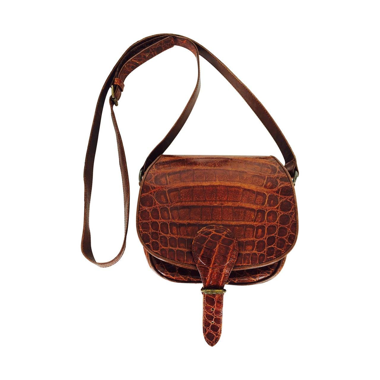 Saddle bag handbag cognac leather faux alligator Neiman Marcus 1980s