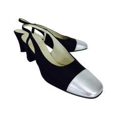 Evins for I Miller black satin & silver leather sling back pumps  5 1/2N 1960s