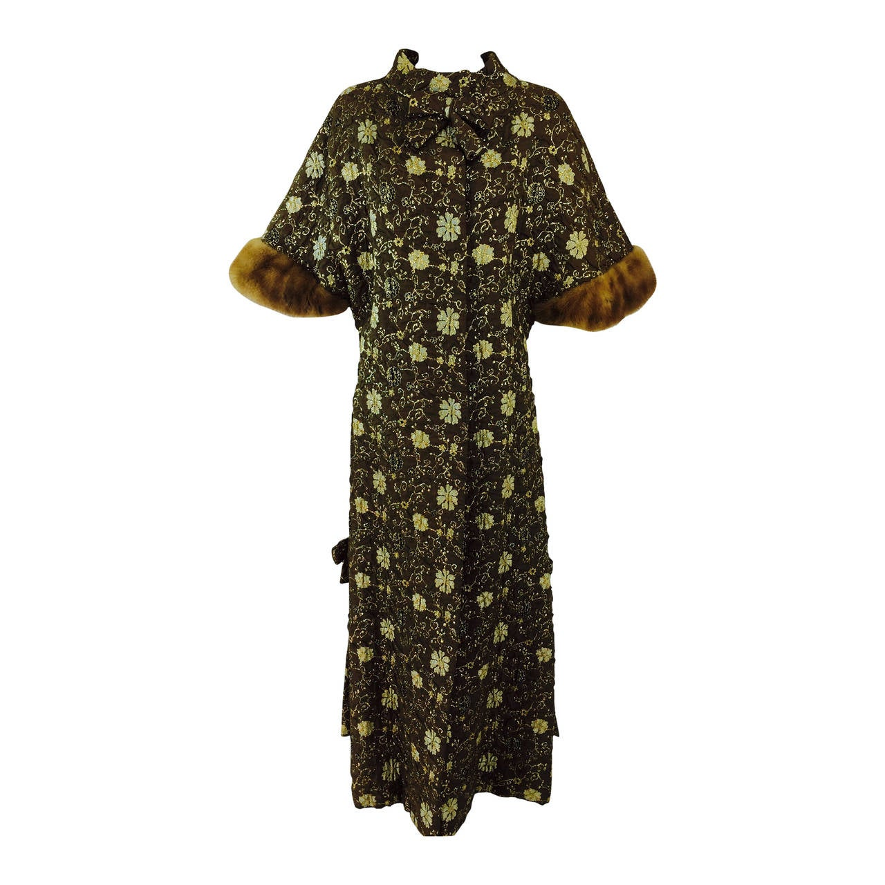Bob Bugnand for Sam Friedlander mink cuff embroidered evening coat 1960s 1