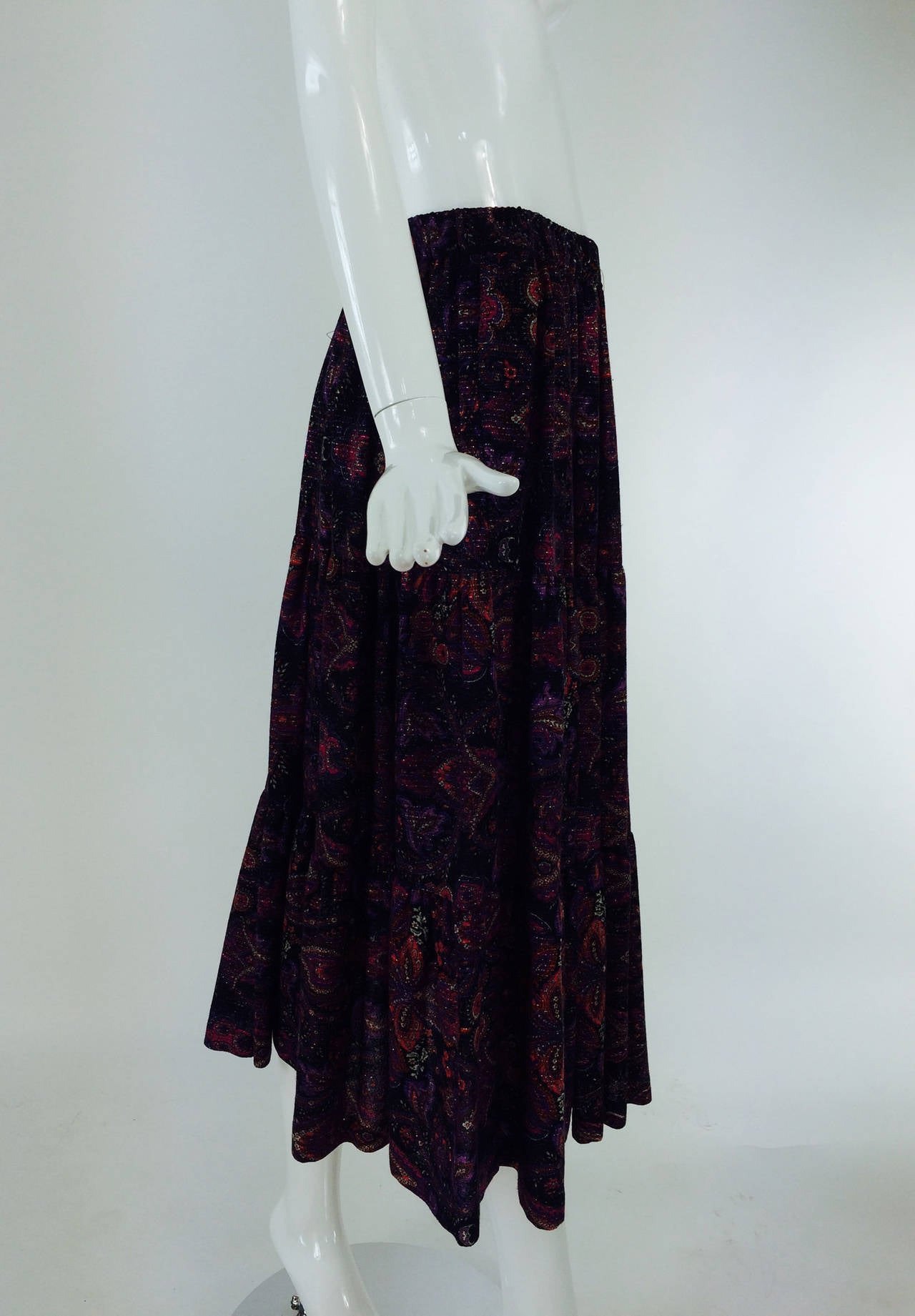 Yves St Laurent YSL Rive Gauche metallic paisley tiered gypsy skirt 1970s For Sale 5