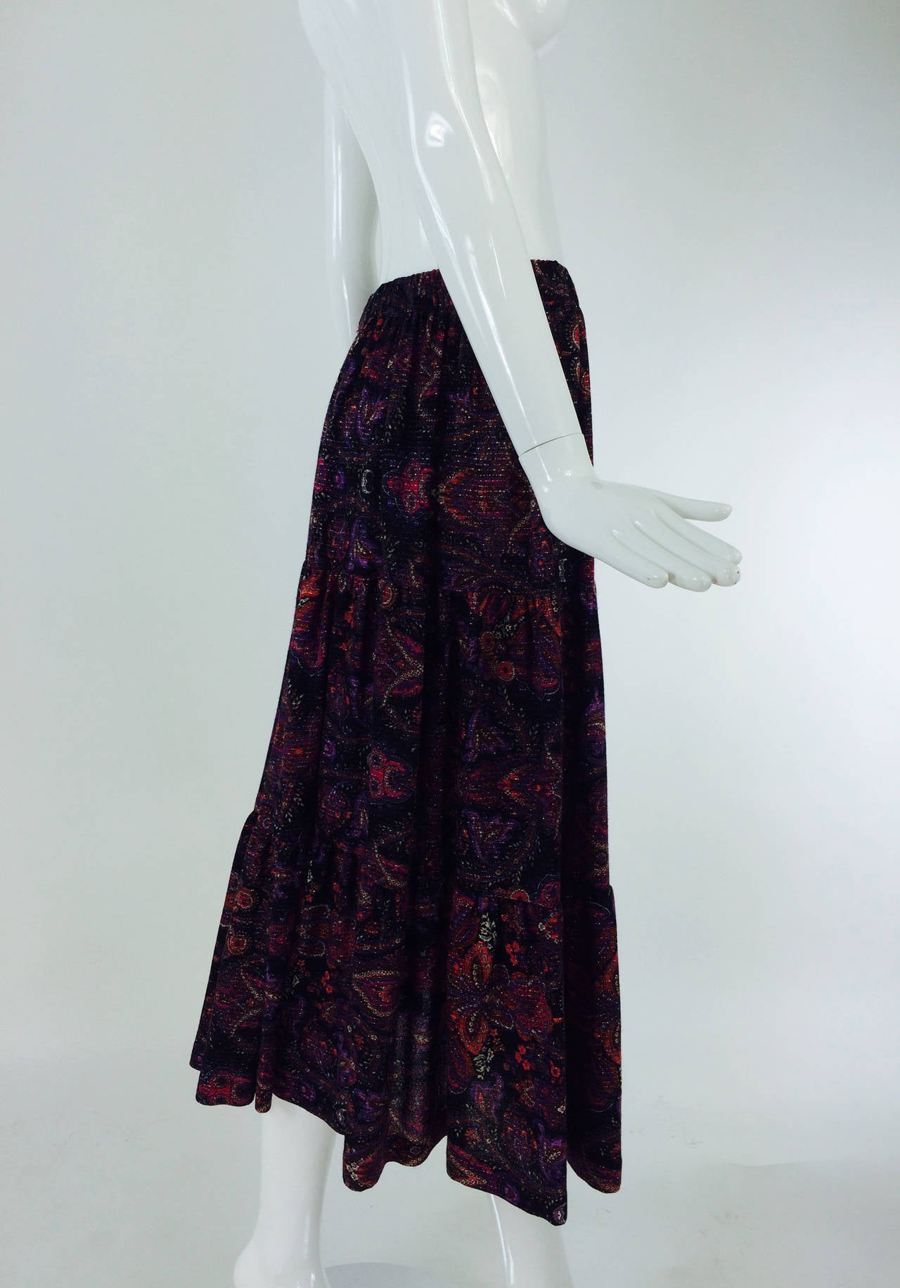 Yves St Laurent YSL Rive Gauche metallic paisley tiered gypsy skirt 1970s For Sale 4