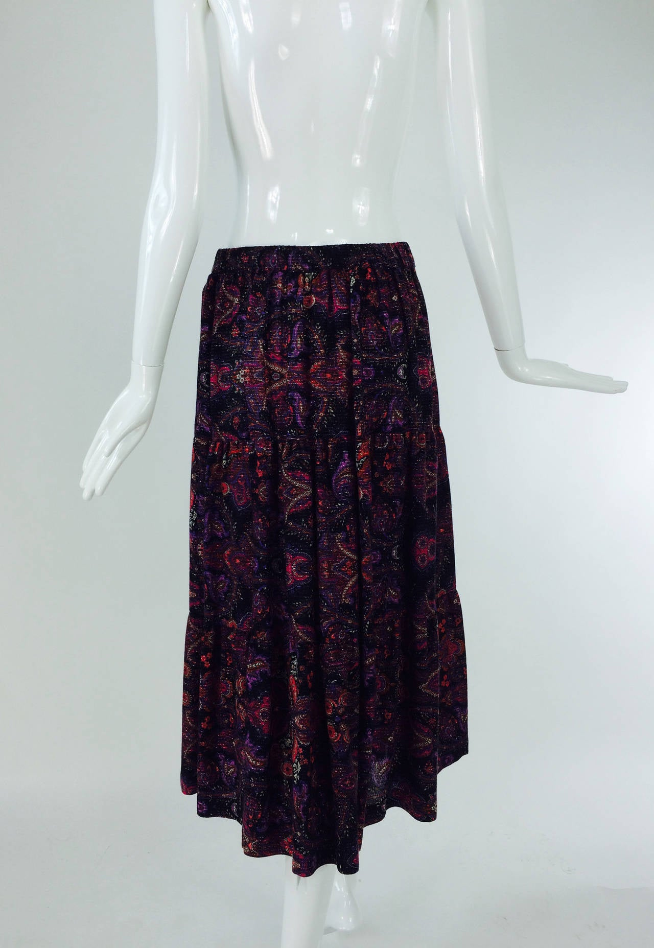 Yves St Laurent YSL Rive Gauche metallic paisley tiered gypsy skirt 1970s For Sale 3
