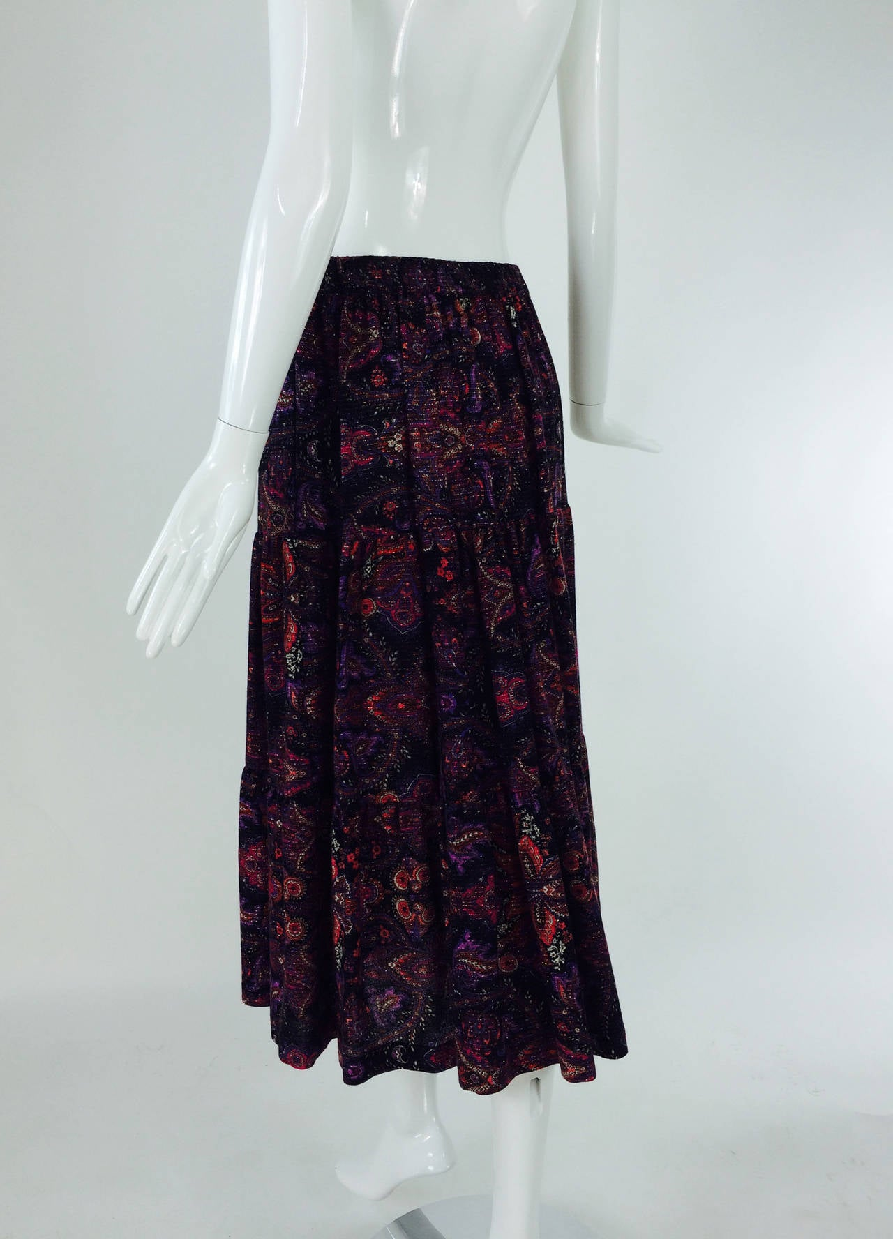 Yves St Laurent YSL Rive Gauche metallic paisley tiered gypsy skirt 1970s For Sale 2