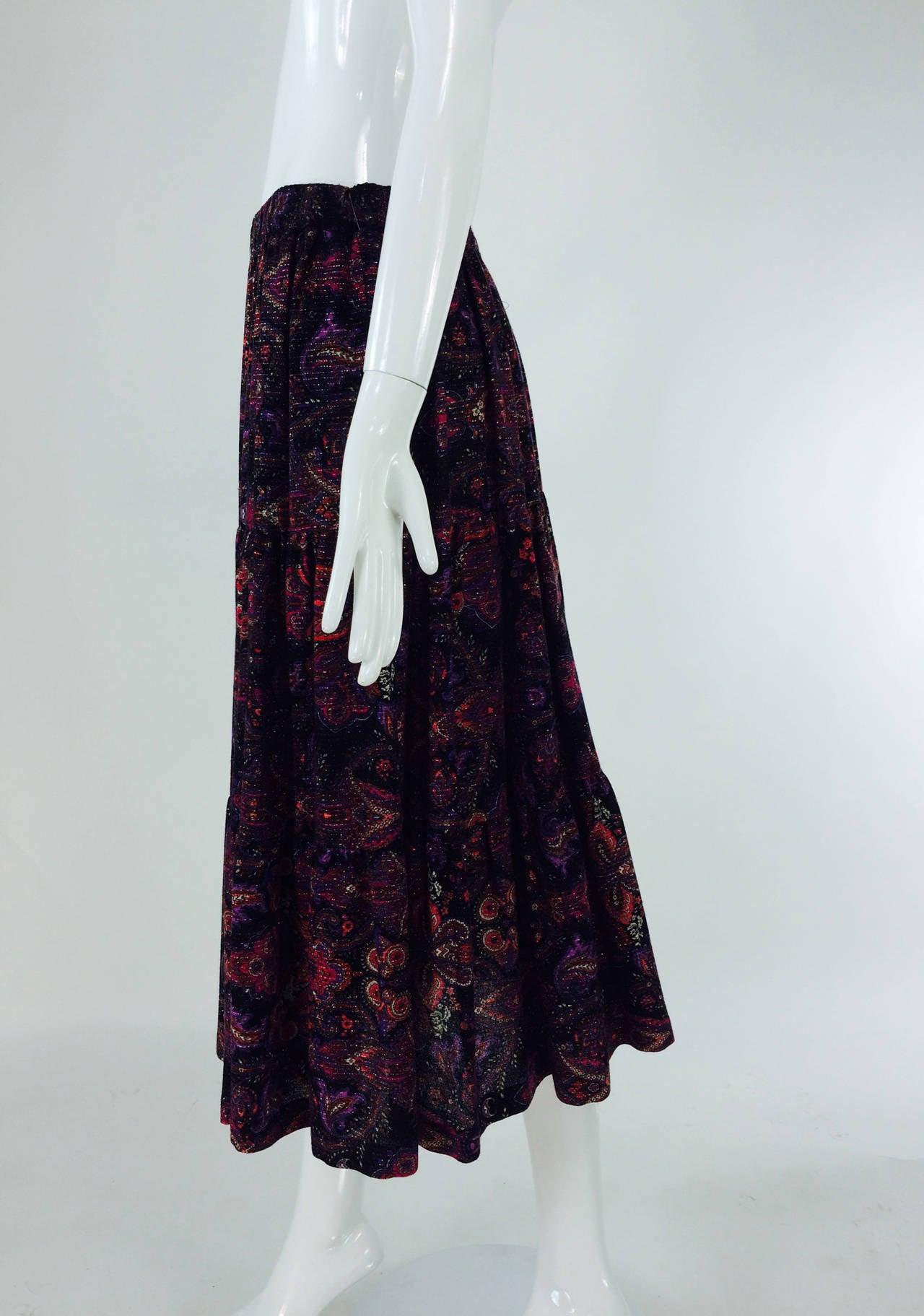 Yves St Laurent YSL Rive Gauche metallic paisley tiered gypsy skirt 1970s For Sale 1