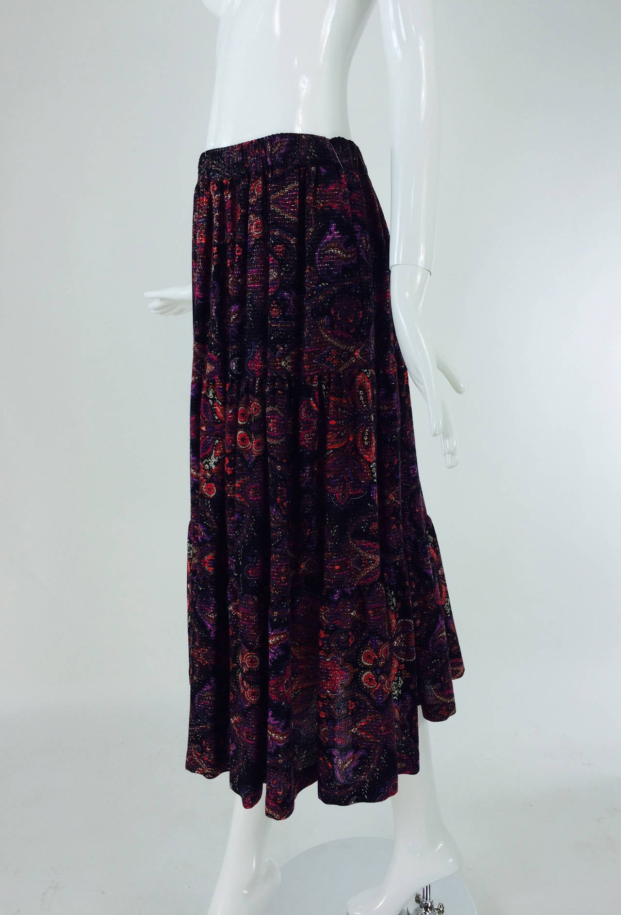 Women's Yves St Laurent YSL Rive Gauche metallic paisley tiered gypsy skirt 1970s For Sale
