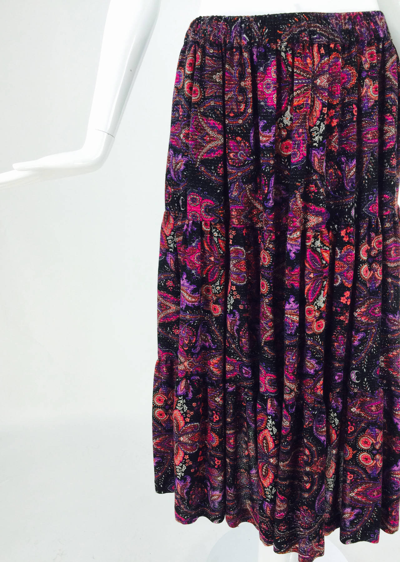 Yves St Laurent YSL Rive Gauche metallic paisley tiered gypsy skirt 1970s In Excellent Condition For Sale In West Palm Beach, FL