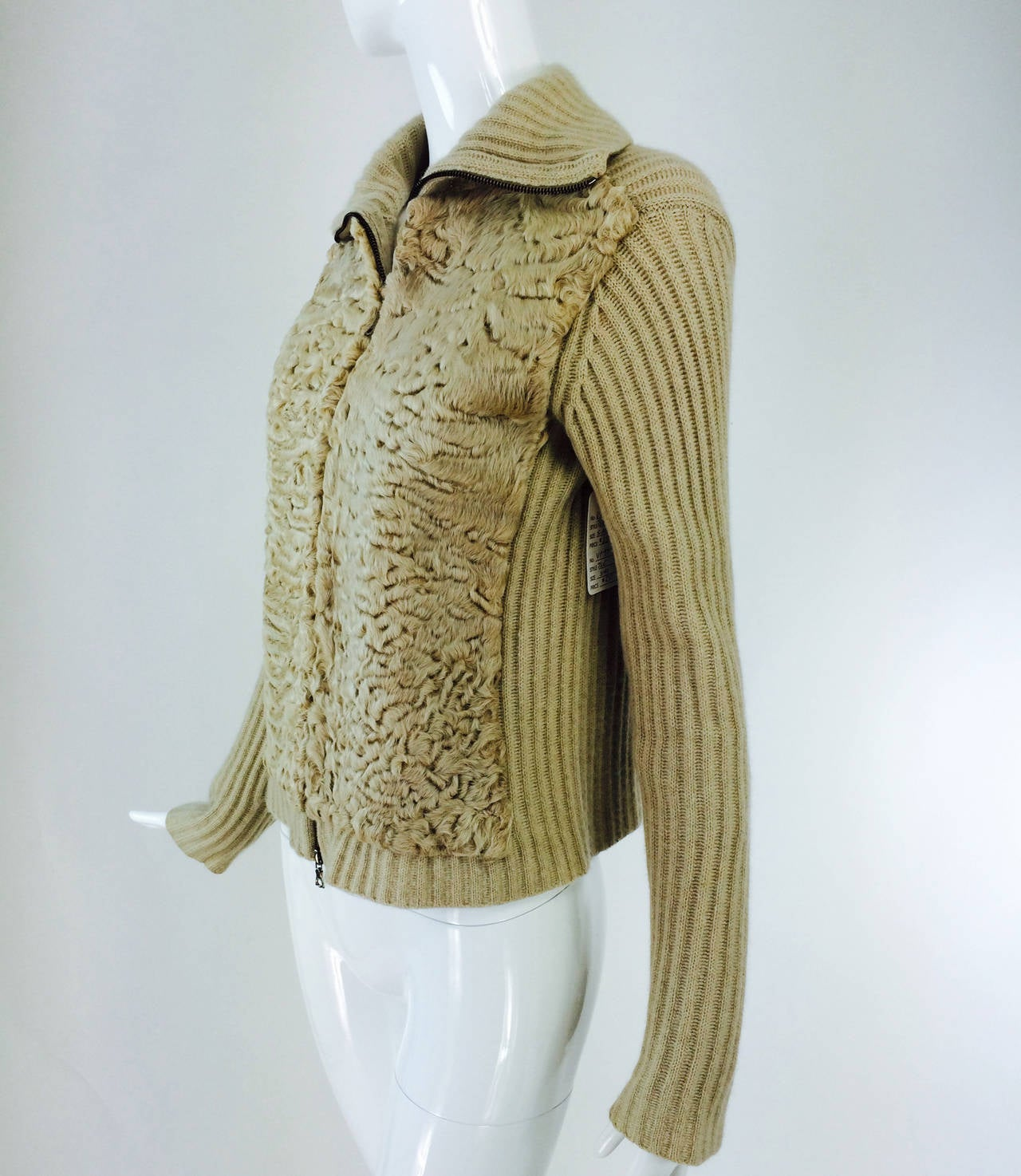 TSE beige cashmere & karakul zip front sweater jacket For Sale 2