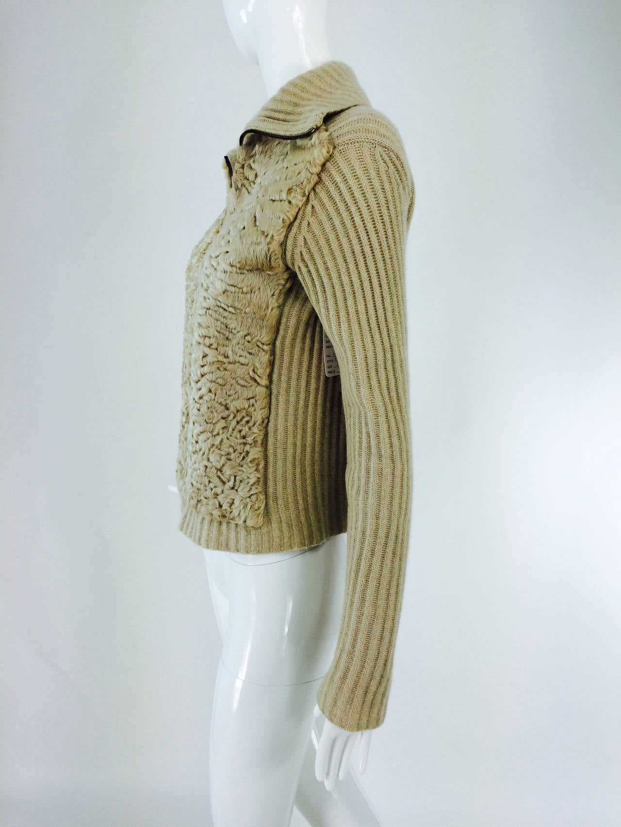 TSE beige cashmere & karakul zip front sweater jacket For Sale 1