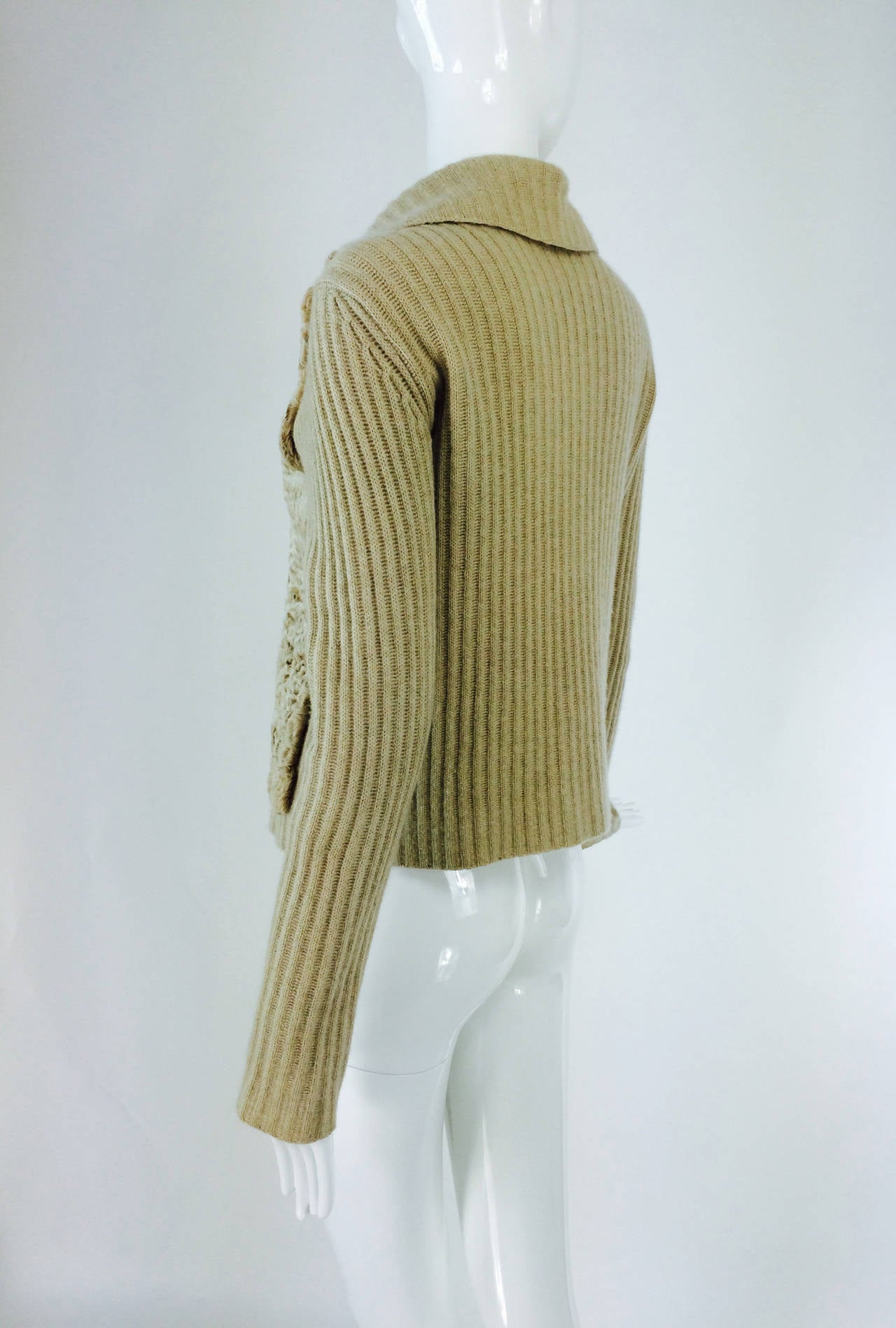 Women's TSE beige cashmere & karakul zip front sweater jacket For Sale