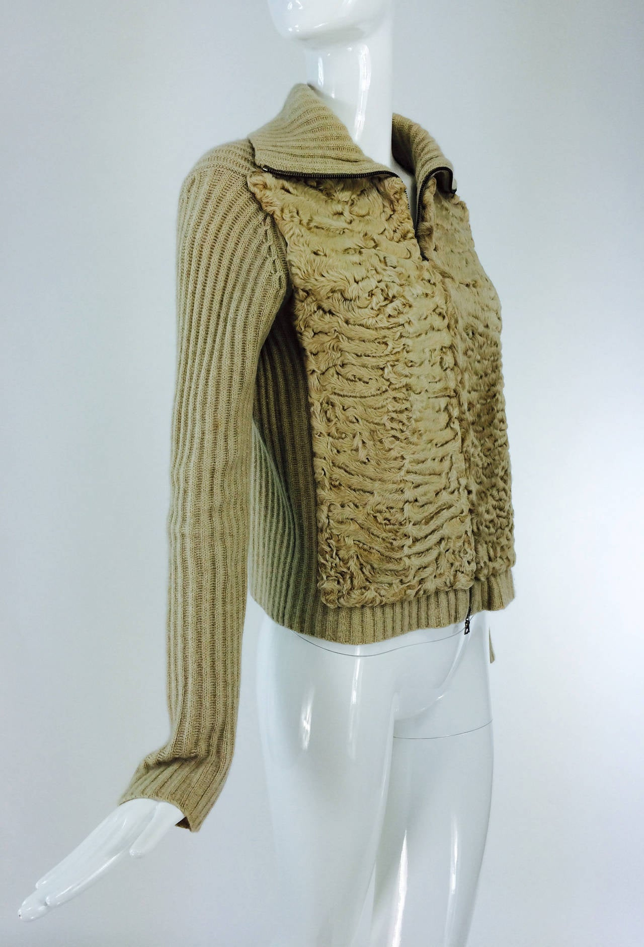 Brown TSE beige cashmere & karakul zip front sweater jacket For Sale