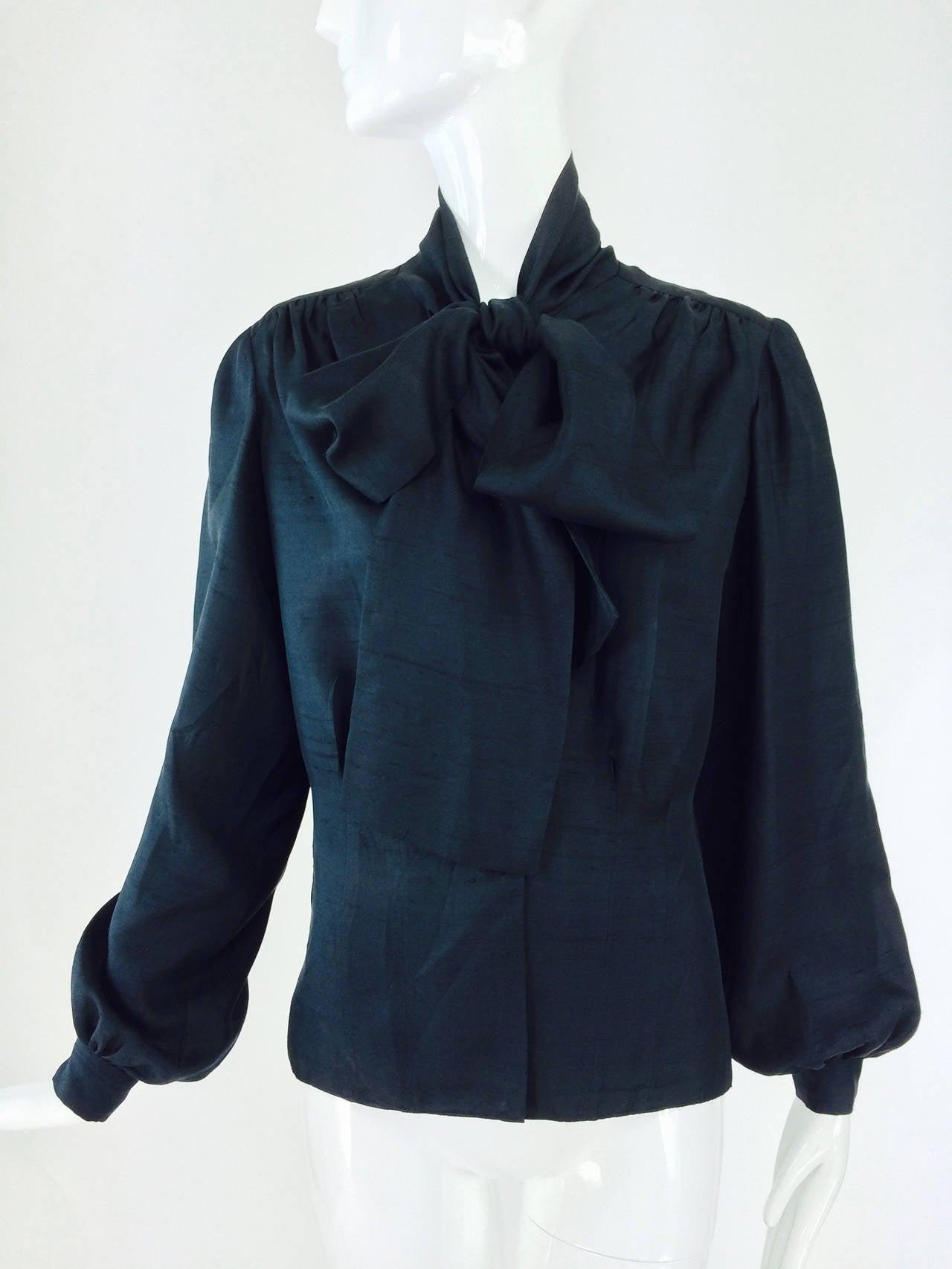 Pierre balmain haute couture black pongee silk bow tie for Haute couture shirts