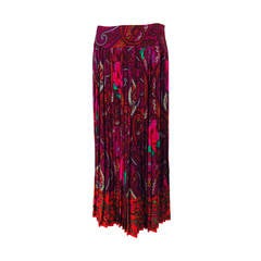 Kenzo bright paisley mix print midi skirt 1980s