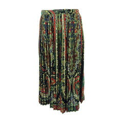 Kenzo paisley pleated side button skirt 1970s