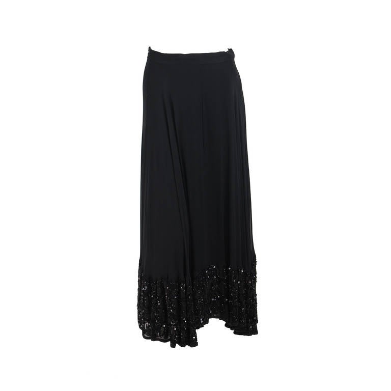 1990s black heavily beaded hem skirt