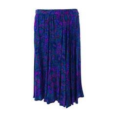 Yves St Laurent YSL Rive Gauche Majorelle blue pleated silk skirt
