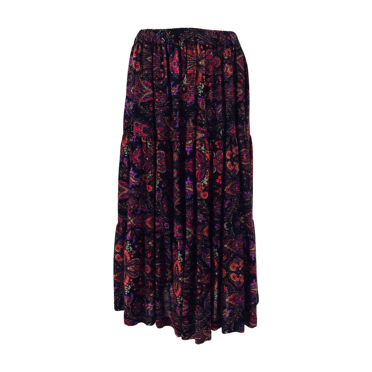 Yves St Laurent YSL Rive Gauche metallic paisley tiered gypsy skirt 1970s For Sale