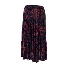 Yves St Laurent YSL Rive Gauche metallic paisley tiered gypsy skirt 1970s