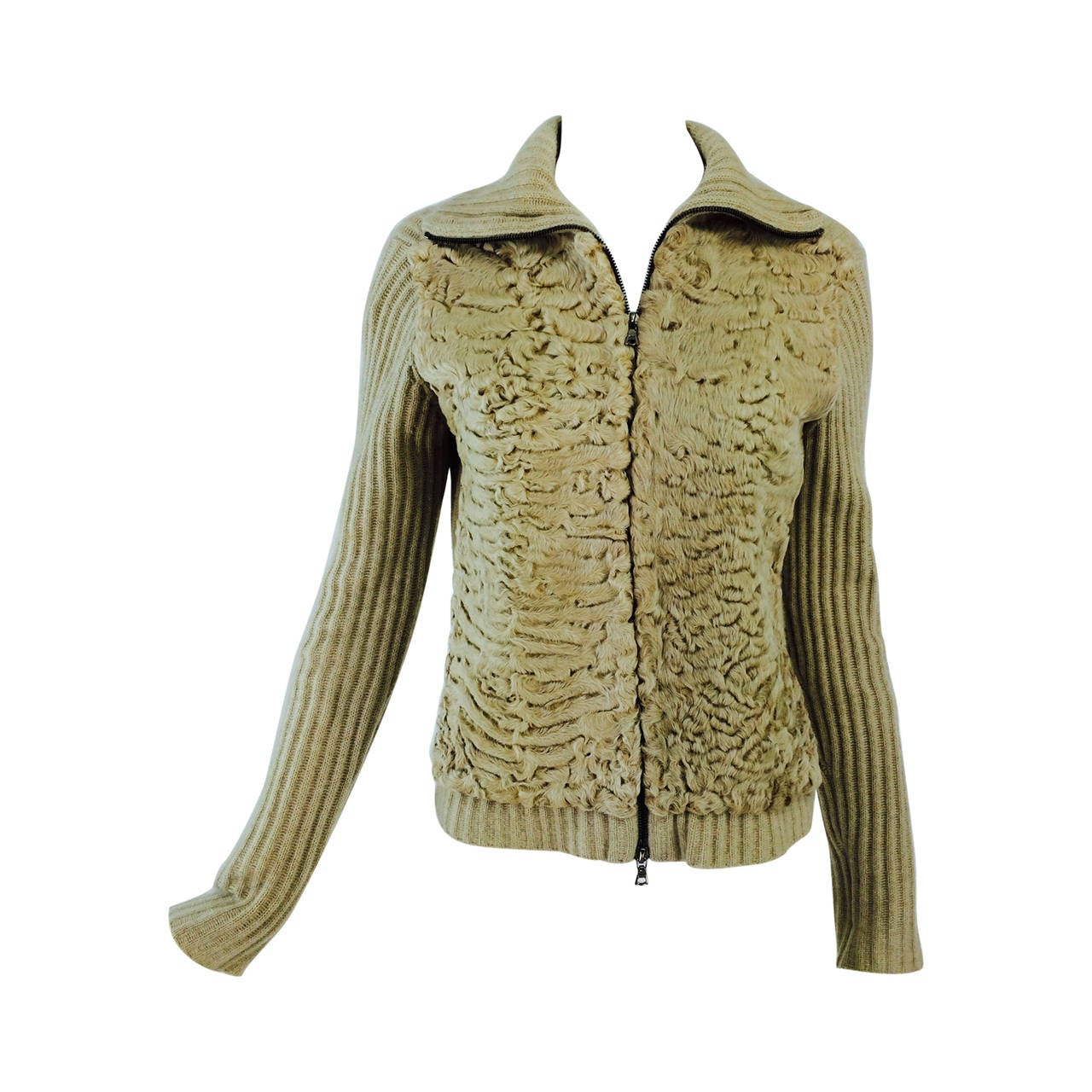 TSE beige cashmere & karakul zip front sweater jacket For Sale