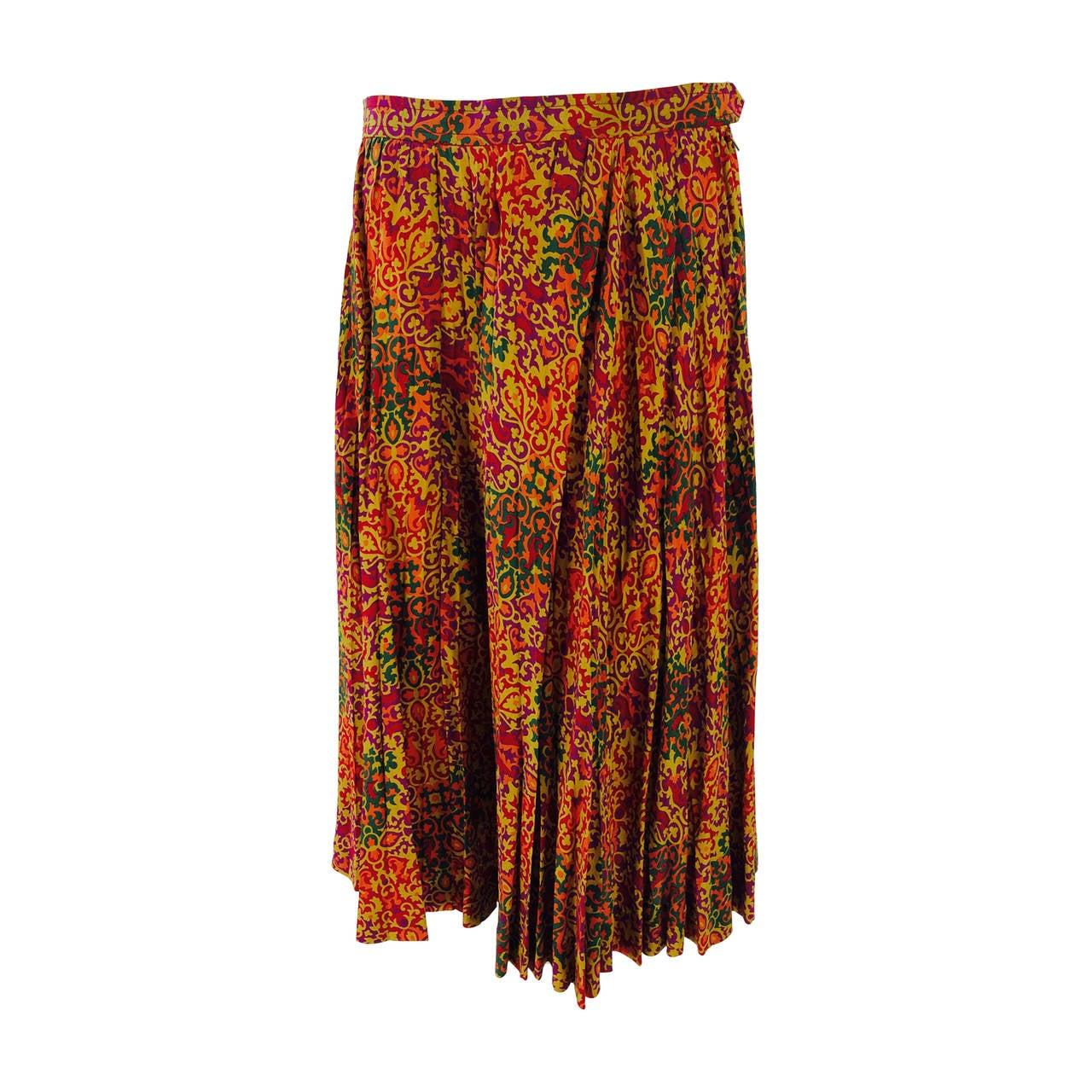 Yves St Laurent YSL Rive Gauche golden silk print knife pleated skirt 1970s