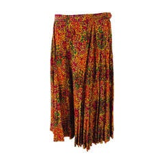 Yves St Laurent YSL Rive Gauche golden silk print knife pleated skirt 1970s