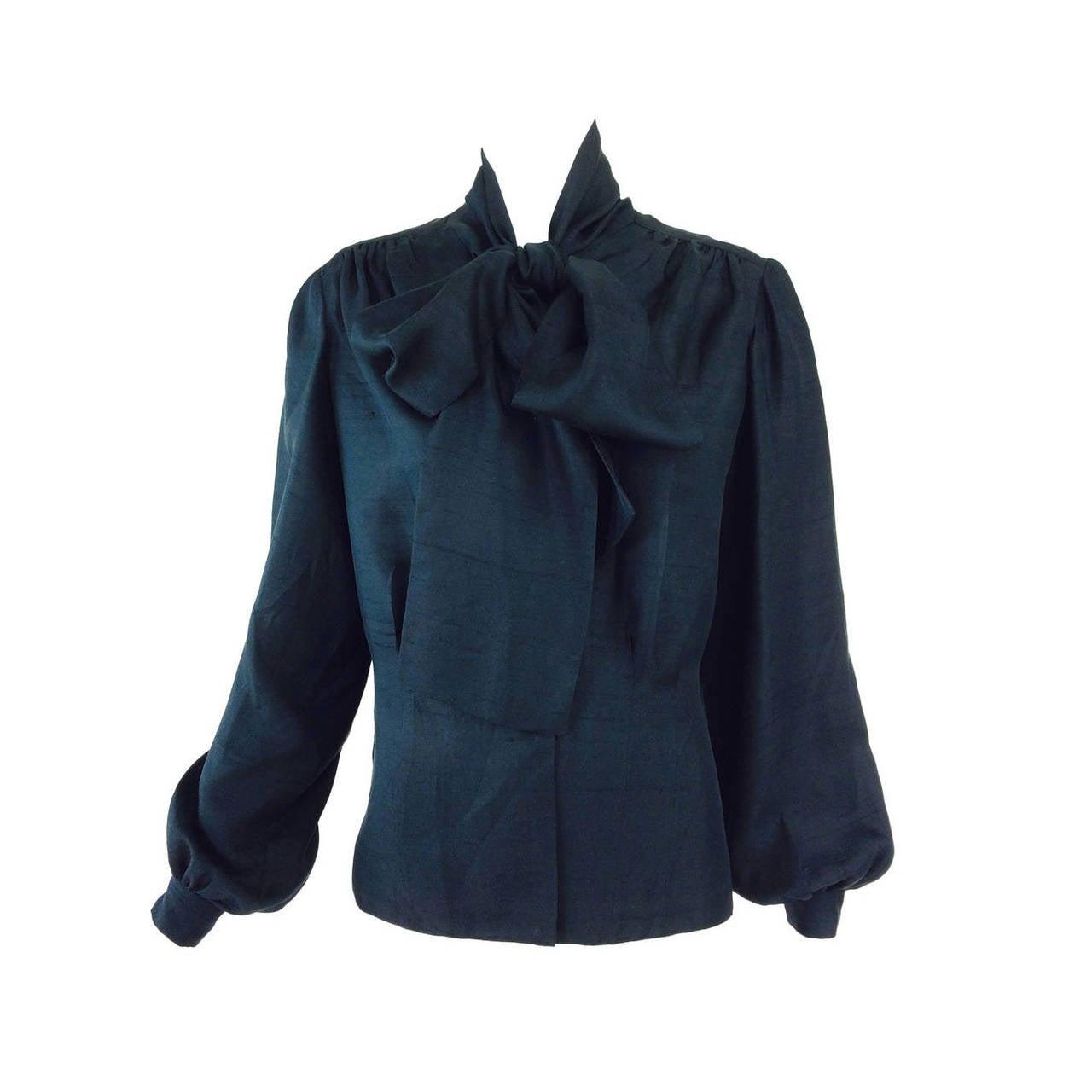 Pierre Balmain Haute Couture black Pongee silk bow tie blouse 1950s