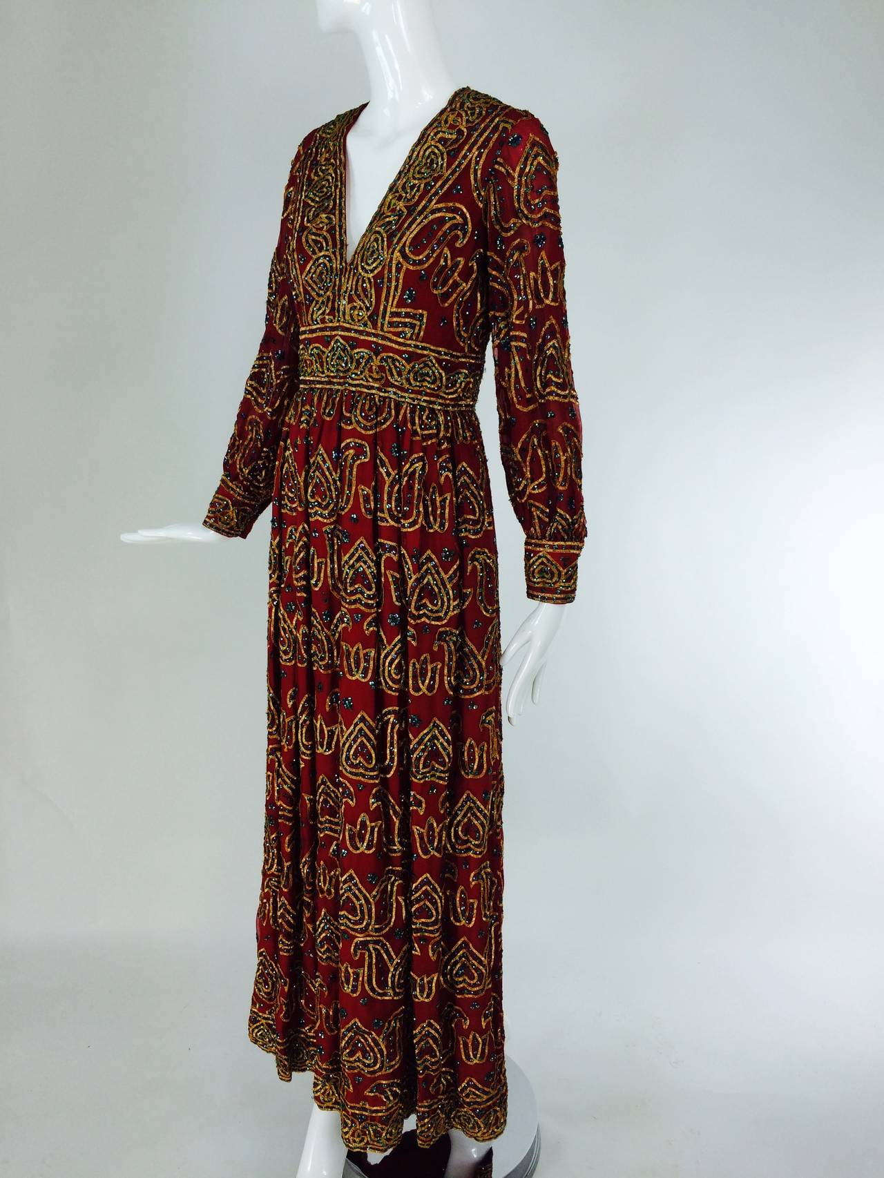 Brown Oscar de la Renta currant red silk chiffon gown with gold braid & sequins 1970s For Sale