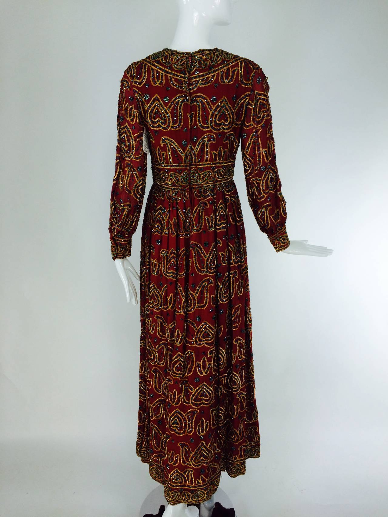 Oscar de la Renta currant red silk chiffon gown with gold braid & sequins 1970s For Sale 1