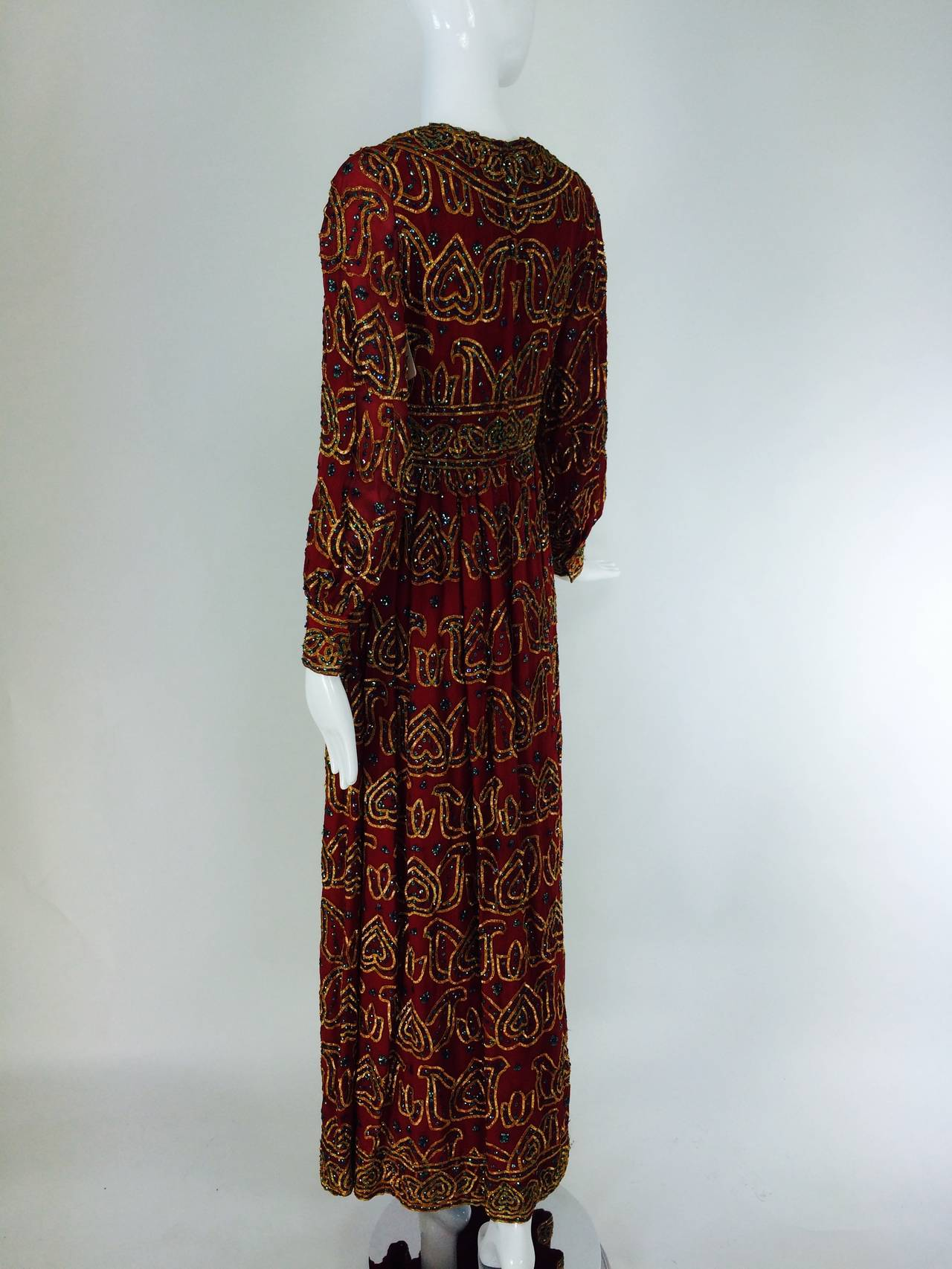 Women's Oscar de la Renta currant red silk chiffon gown with gold braid & sequins 1970s For Sale