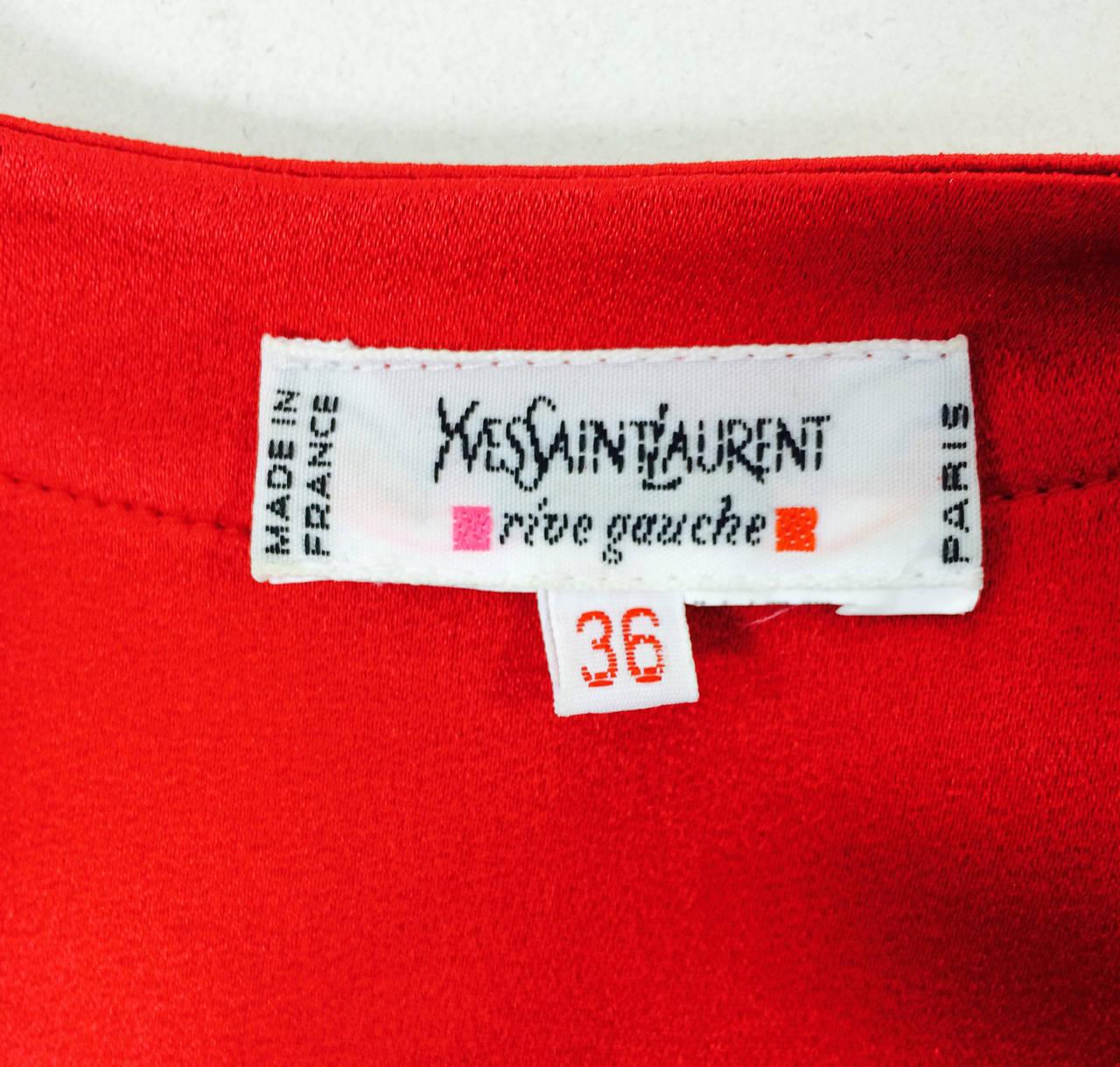 Yves St Laurent YSL Rive Gauche red satin back crepe sleeveless top 8