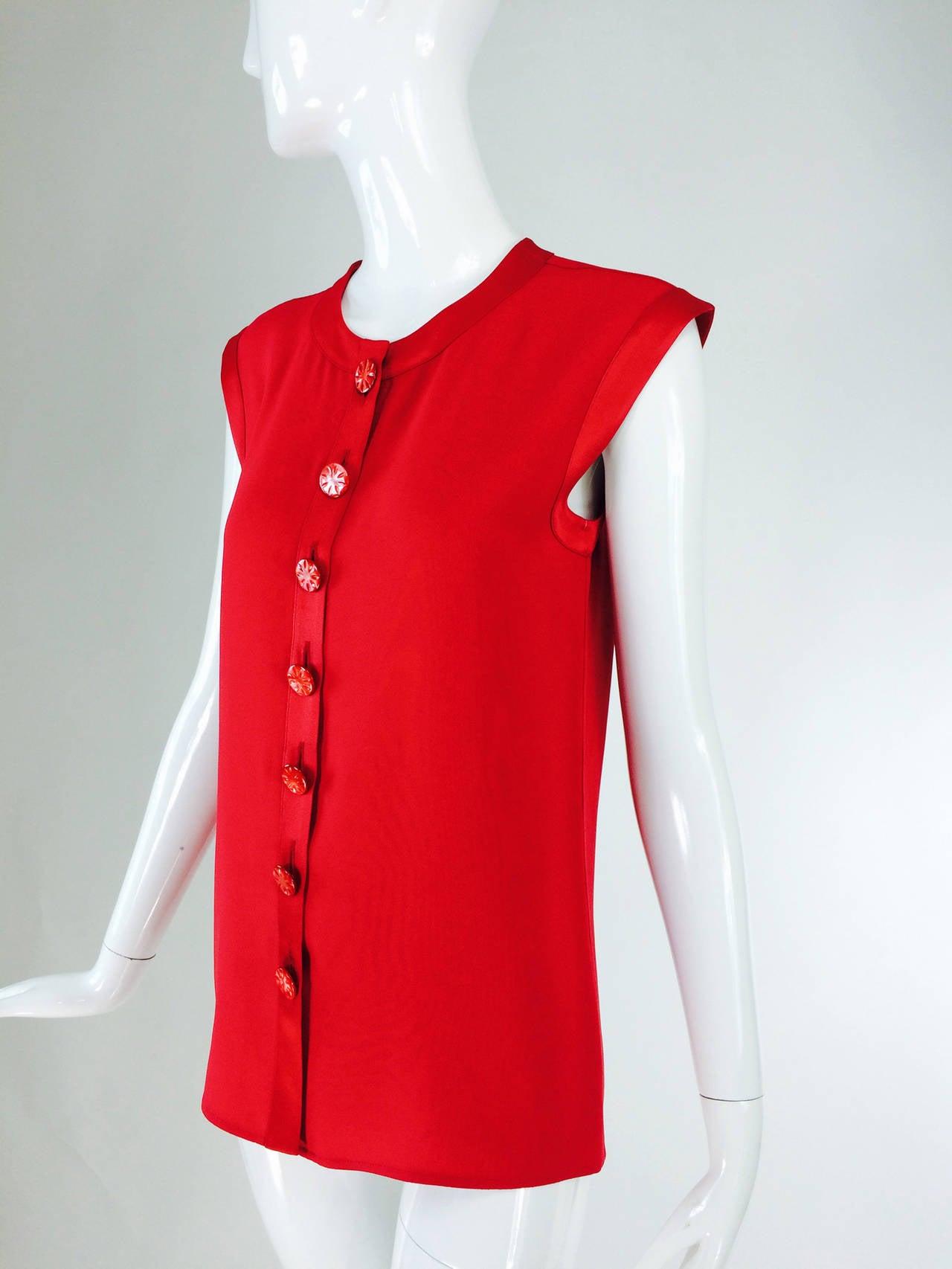 Yves St Laurent YSL Rive Gauche red satin back crepe sleeveless top 7