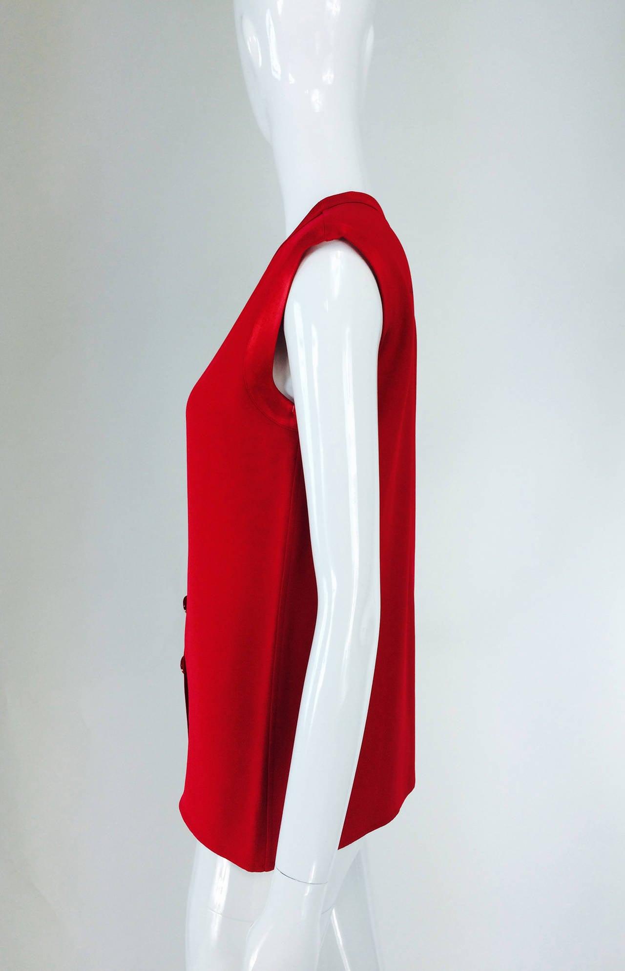 Yves St Laurent YSL Rive Gauche red satin back crepe sleeveless top 6