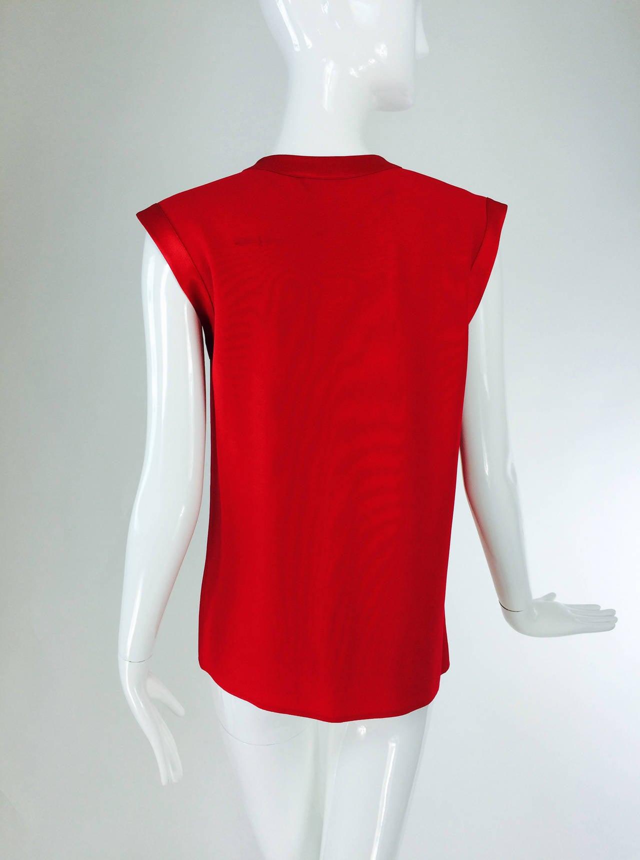Yves St Laurent YSL Rive Gauche red satin back crepe sleeveless top 5