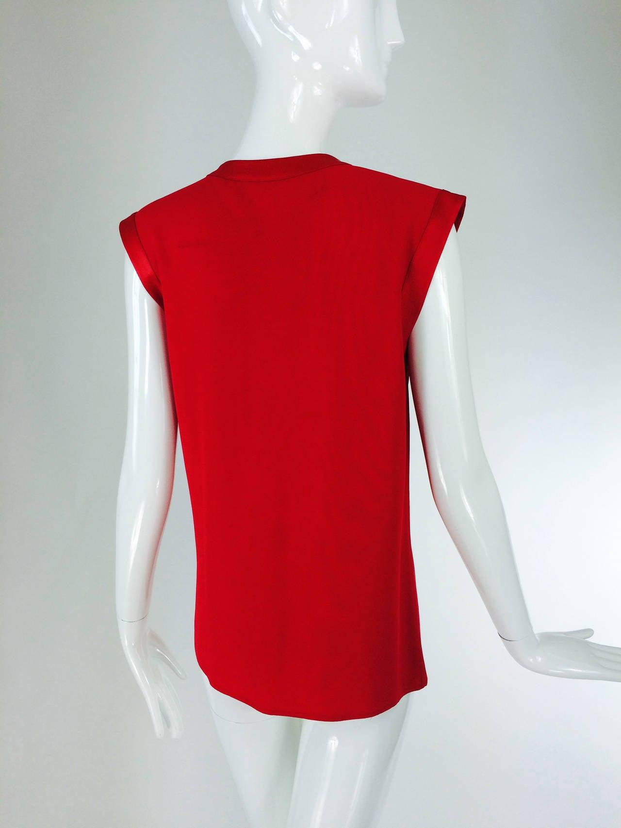 Yves St Laurent YSL Rive Gauche red satin back crepe sleeveless top 4