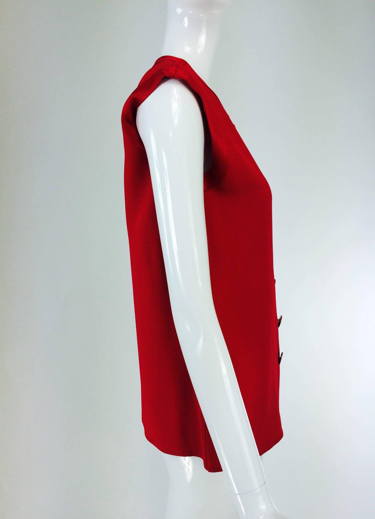 Yves St Laurent YSL Rive Gauche red satin back crepe sleeveless top 3