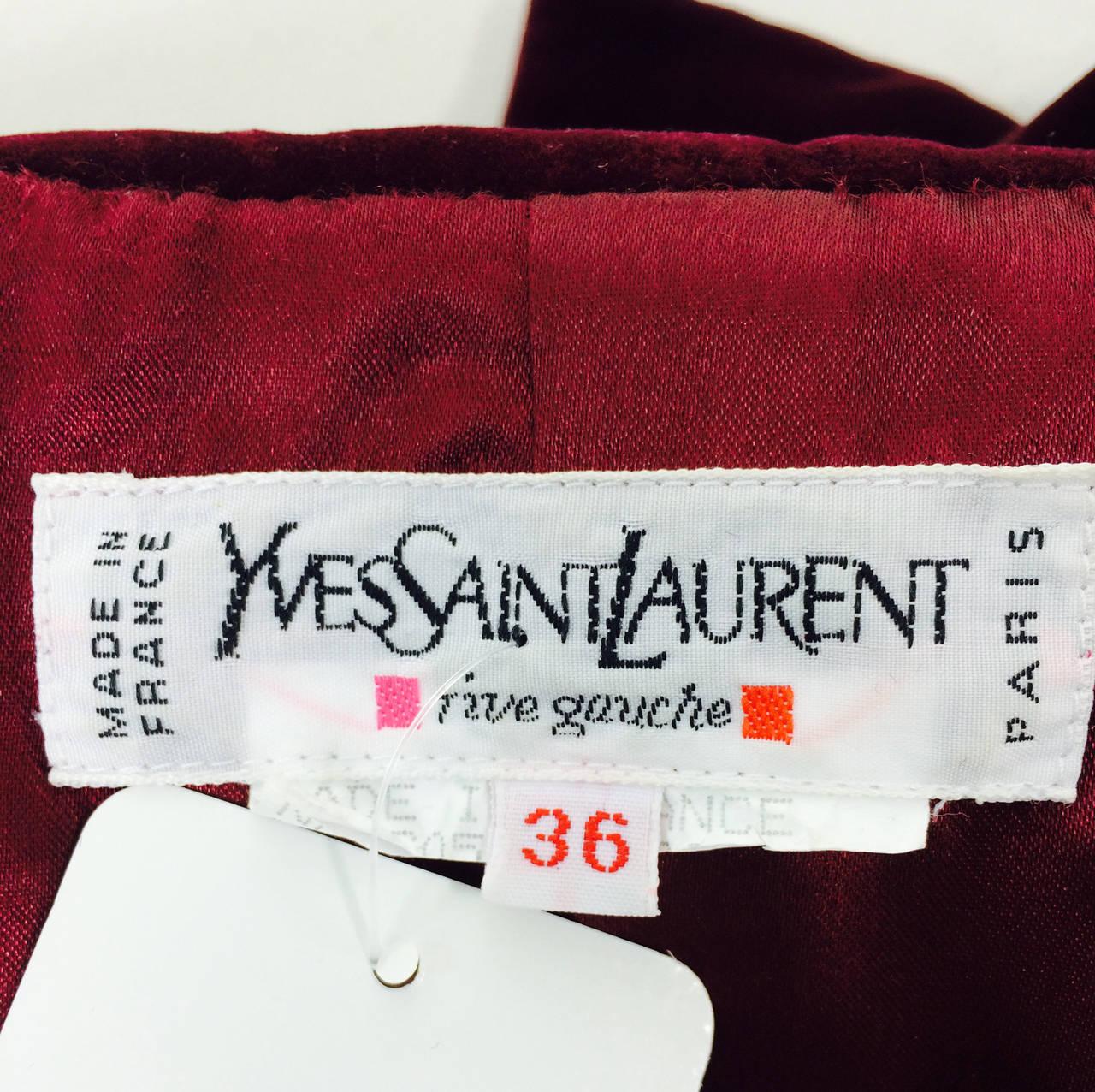 Yves St Laurent Rive Gauche velvet blazer in garnet 1970s YSL 9