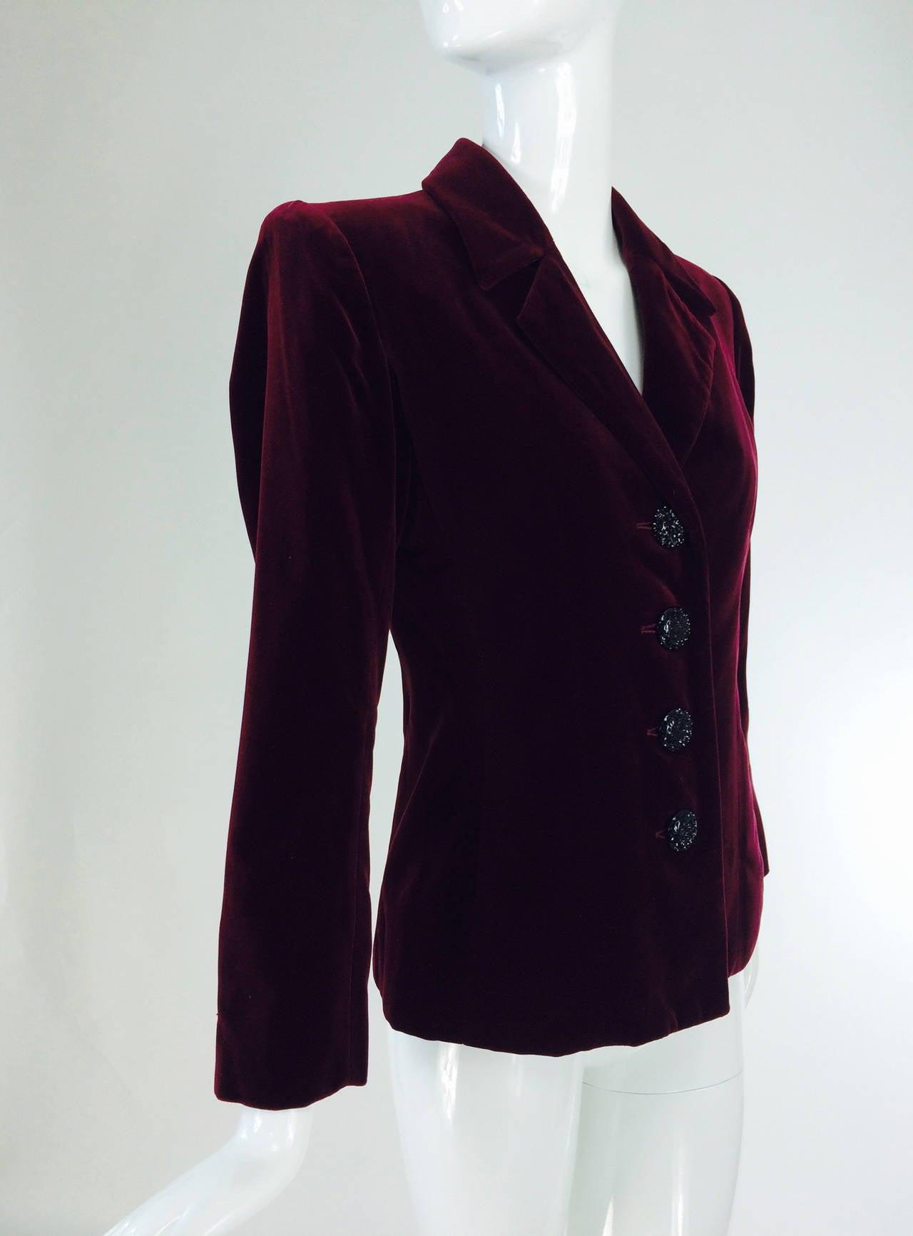 Yves St Laurent Rive Gauche velvet blazer in garnet 1970s YSL 7
