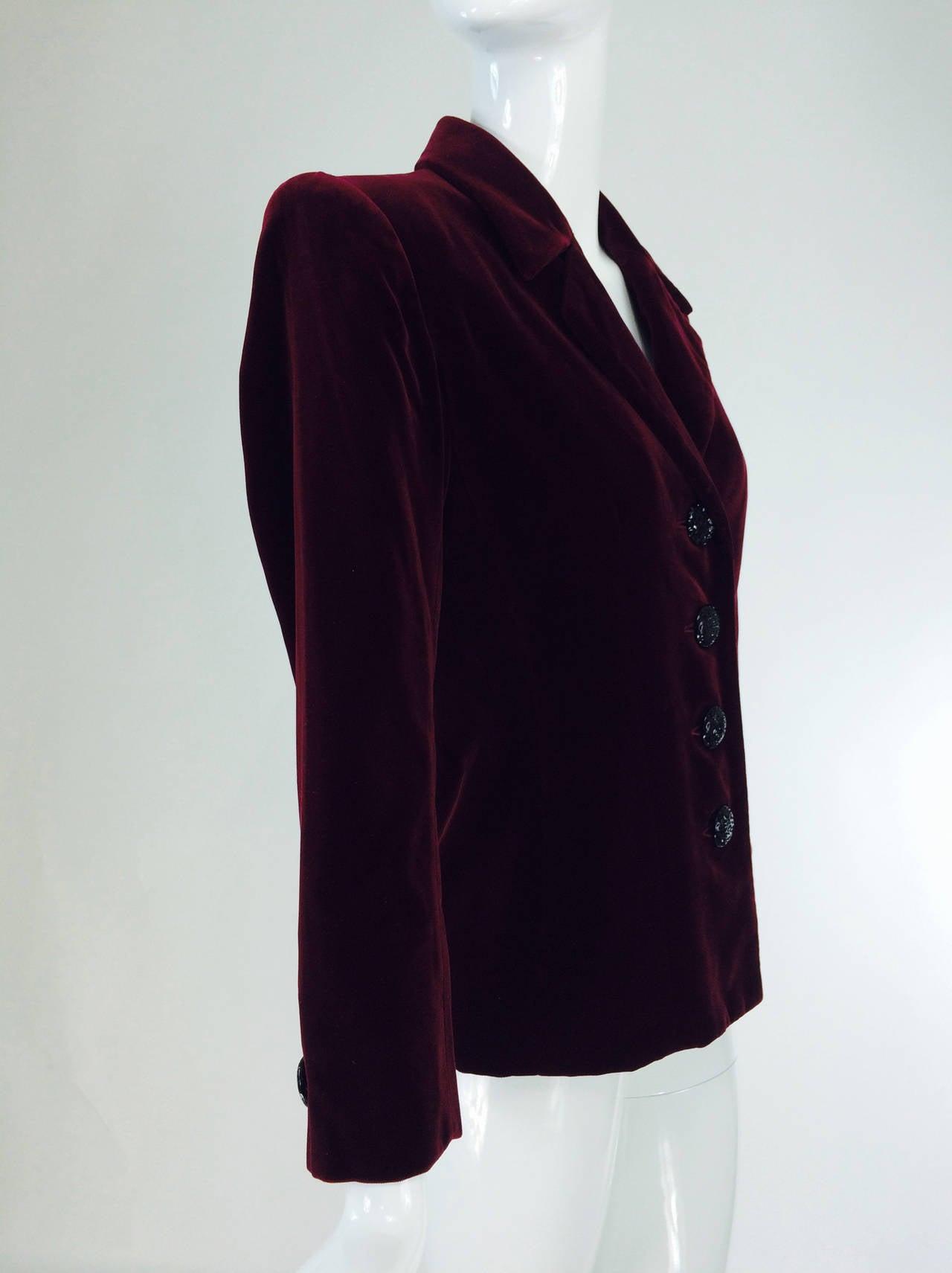 Yves St Laurent Rive Gauche velvet blazer in garnet 1970s YSL 6
