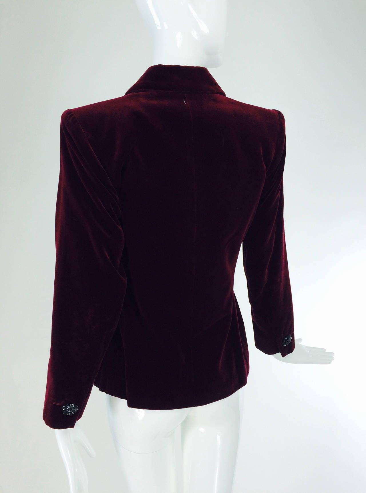 Yves St Laurent Rive Gauche velvet blazer in garnet 1970s YSL 4