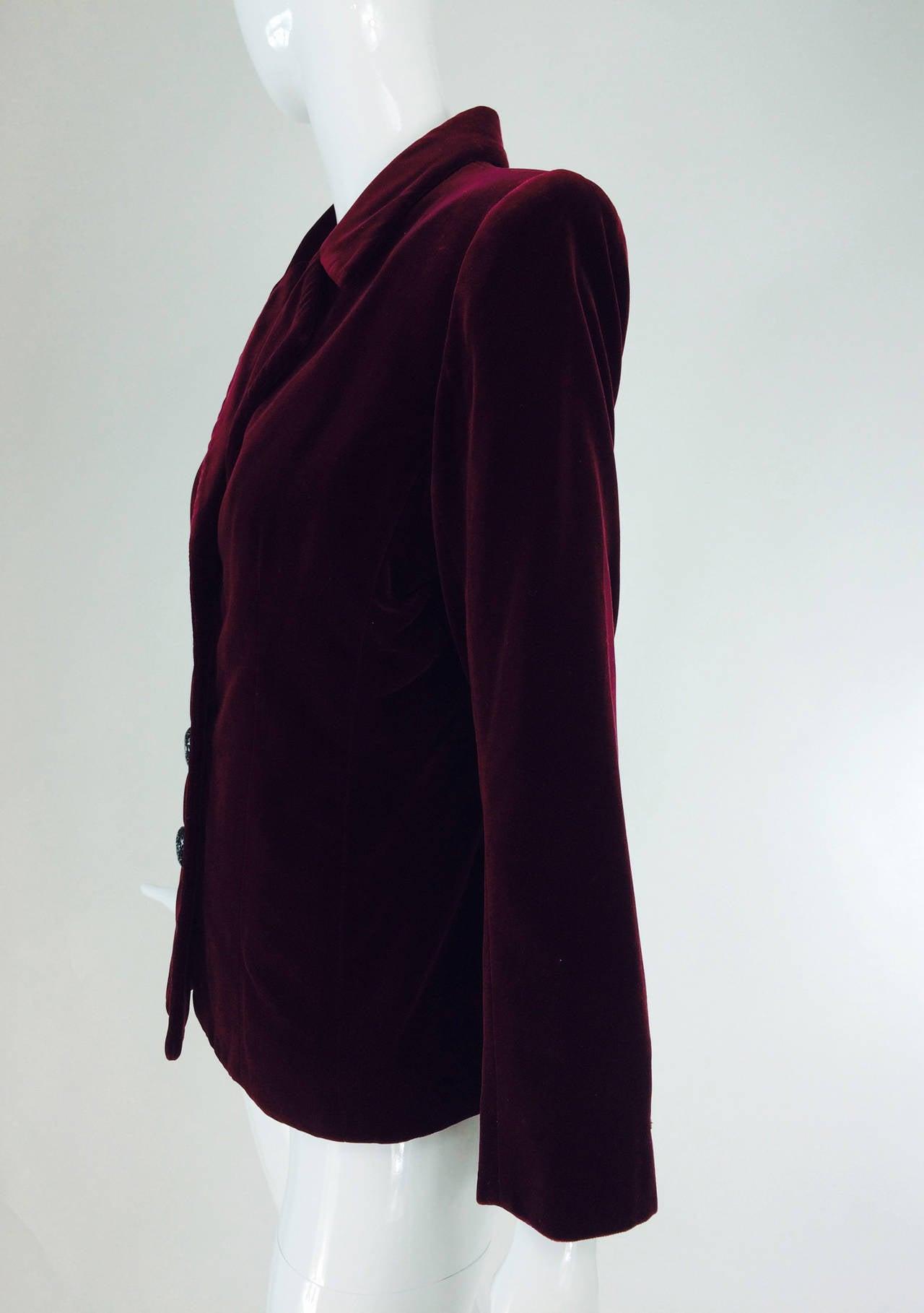 Yves St Laurent Rive Gauche velvet blazer in garnet 1970s YSL 2