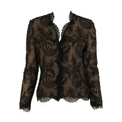 1930s romantic black Chantilly lace blouse