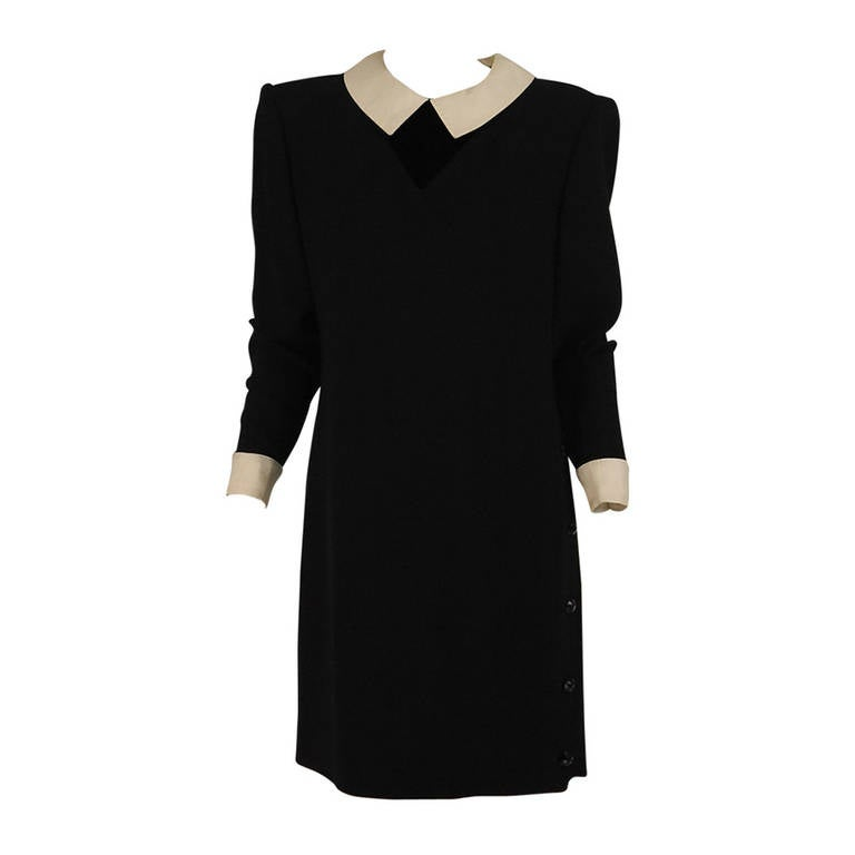 1980s Valentino black wool crepe collar & cuff dress For Sale