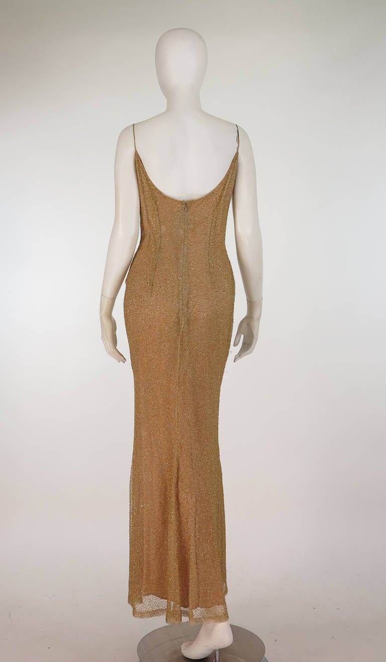 Naeem Khan caviar beaded gold net evening gown In Excellent Condition For Sale In West Palm Beach, FL