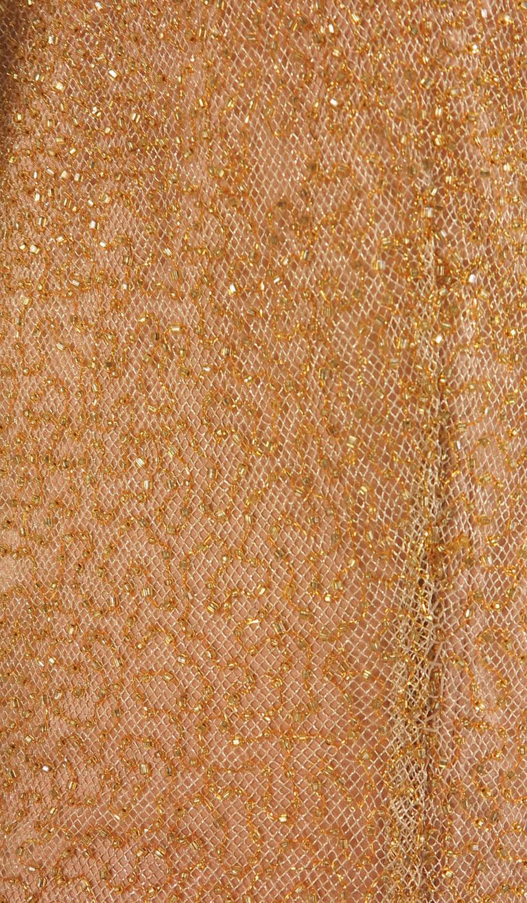 Naeem Khan caviar beaded gold net evening gown 9