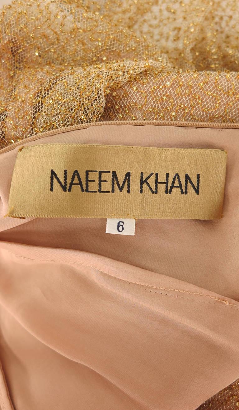 Naeem Khan caviar beaded gold net evening gown 10