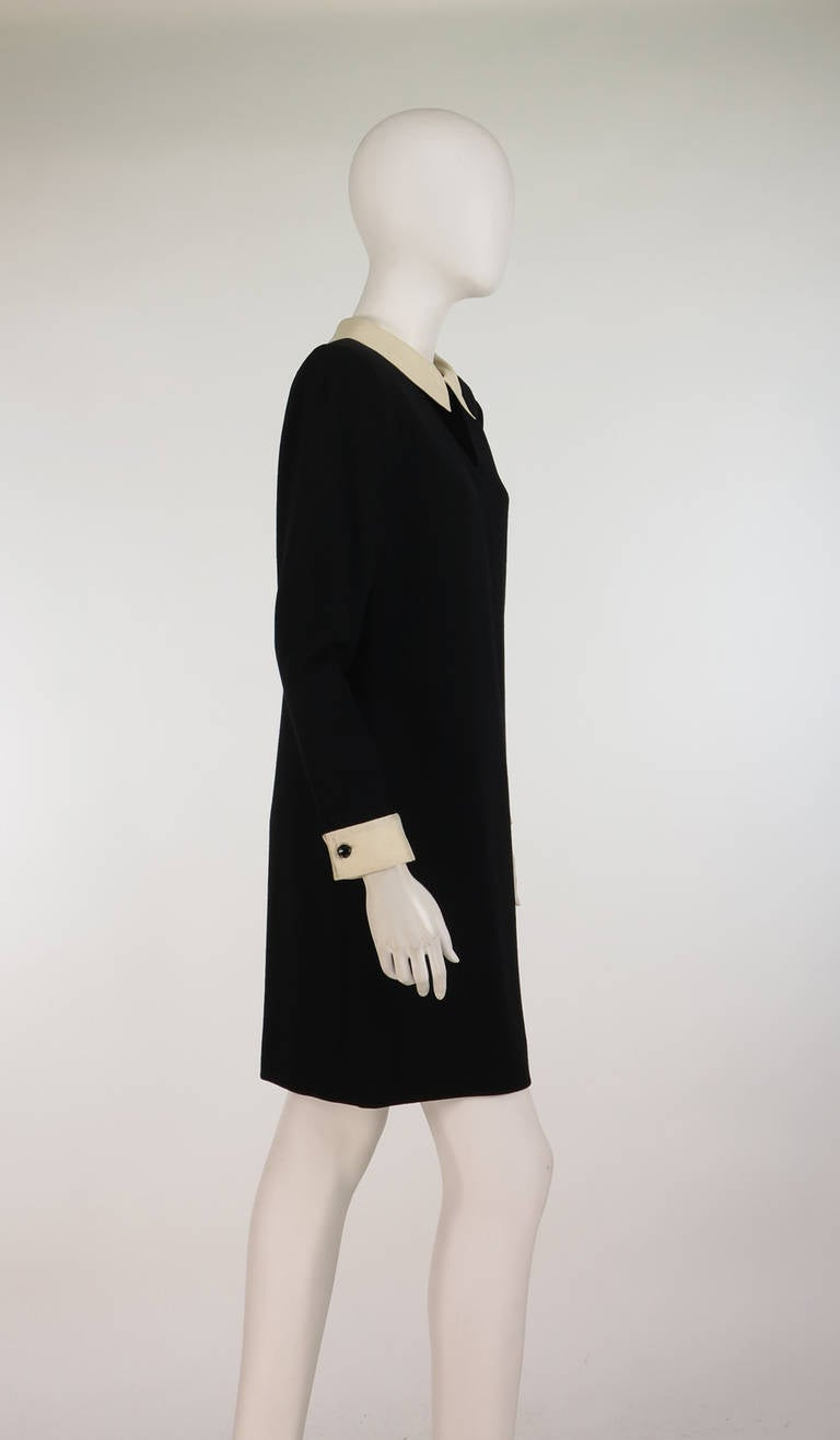 Women's 1980s Valentino black wool crepe collar & cuff dress For Sale